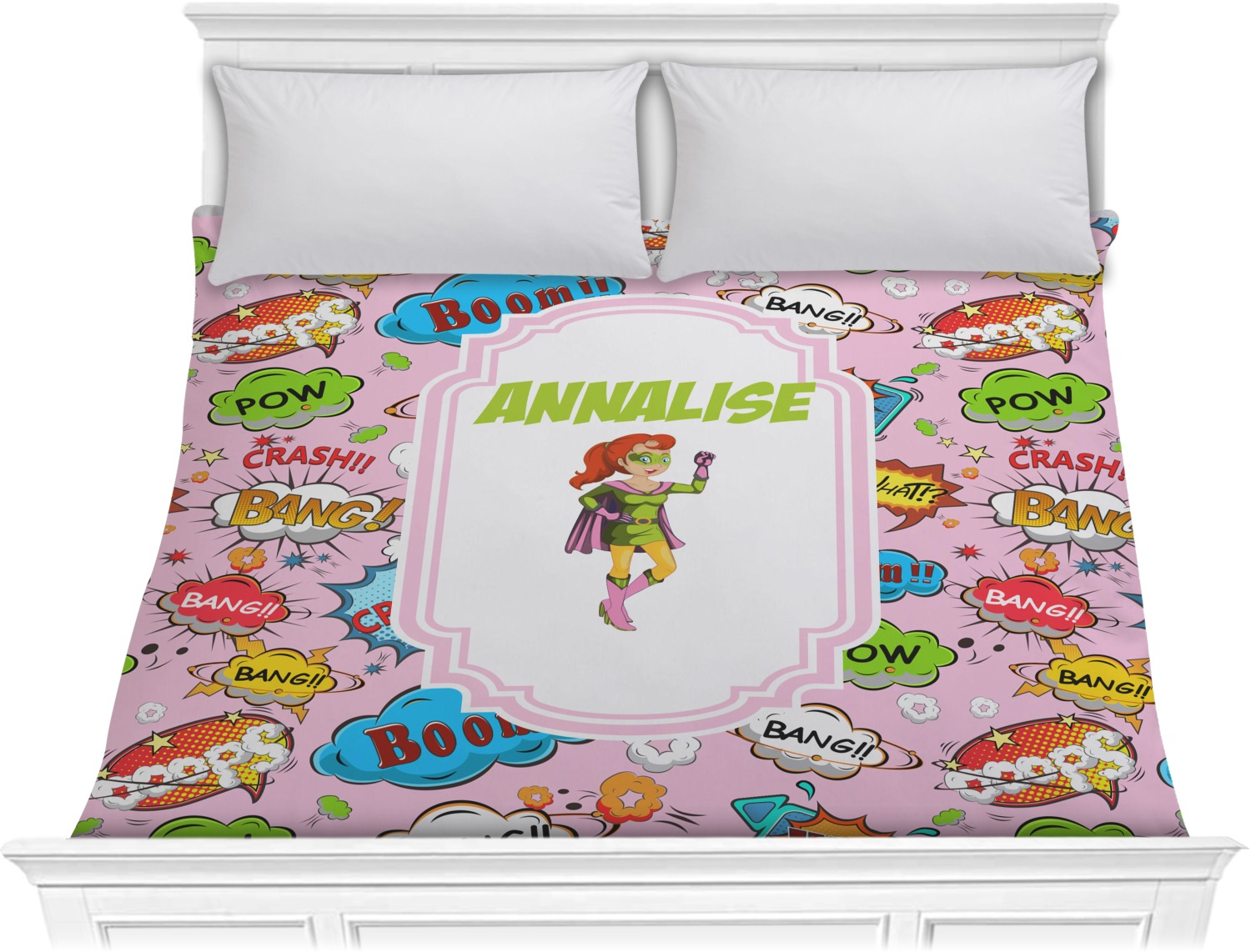 Woman Superhero Comforter - King (Personalized) - RNK Shops
