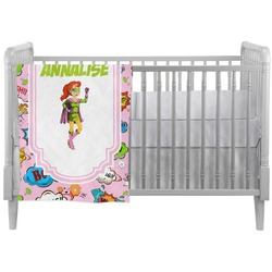 Woman Superhero Crib Comforter / Quilt (Personalized)