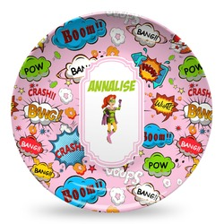 Woman Superhero Microwave Safe Plastic Plate - Composite Polymer (Personalized)
