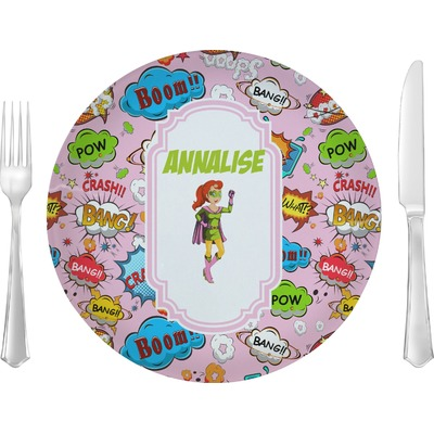 """Woman Superhero 10"""" Glass Lunch / Dinner Plates - Single or Set (Personalized)"""