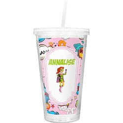 Woman Superhero Double Wall Tumbler with Straw (Personalized)