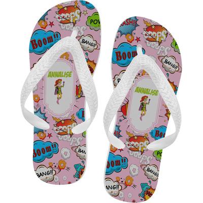 Woman Superhero Flip Flops - Large (Personalized)