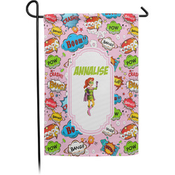 Woman Superhero Single Sided Garden Flag With Pole (Personalized)