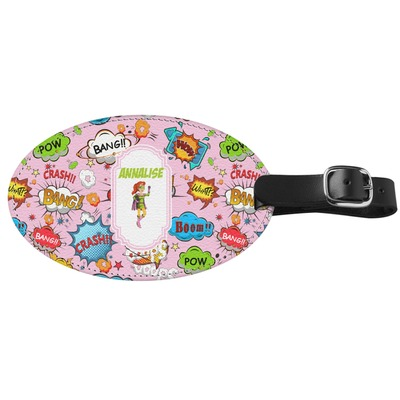 Woman Superhero Genuine Leather Oval Luggage Tag (Personalized)