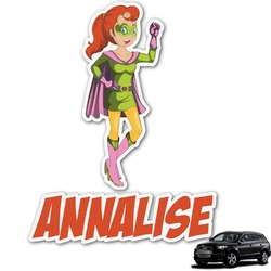 Woman Superhero Graphic Car Decal (Personalized)