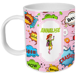 Woman Superhero Plastic Kids Mug (Personalized)