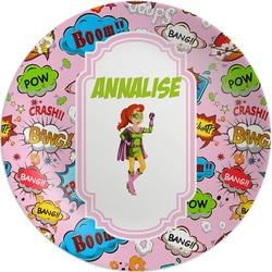 Woman Superhero Melamine Plate (Personalized)