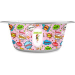 Woman Superhero Stainless Steel Dog Bowl (Personalized)