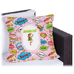 """Woman Superhero Outdoor Pillow - 16"""" (Personalized)"""