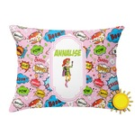 Woman Superhero Outdoor Throw Pillow (Rectangular) (Personalized)