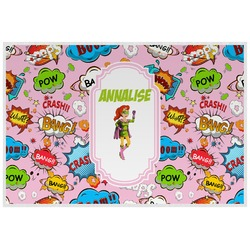Woman Superhero Laminated Placemat w/ Name or Text