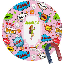 Woman Superhero Round Magnet (Personalized)