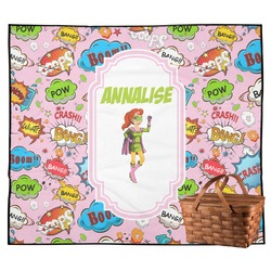 Woman Superhero Outdoor Picnic Blanket (Personalized)