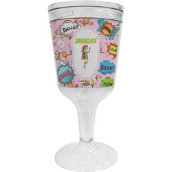 Woman Superhero Wine Tumbler - 11 oz Plastic (Personalized)
