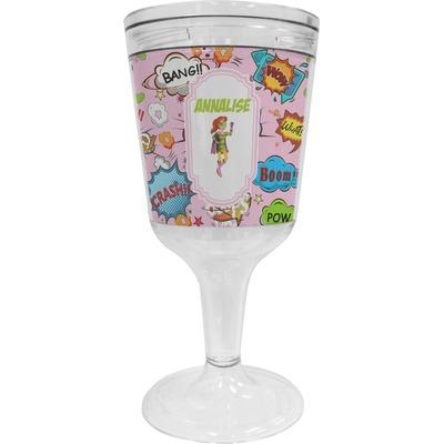 Woman Superhero Wine Tumbler - 11 oz Plastic (Personalized)