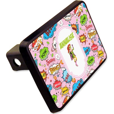 """Woman Superhero Rectangular Trailer Hitch Cover - 2"""" (Personalized)"""