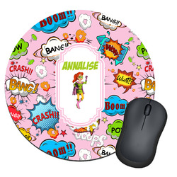 Woman Superhero Round Mouse Pad (Personalized)