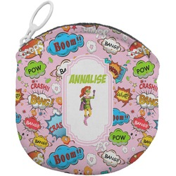 Woman Superhero Round Coin Purse (Personalized)