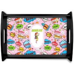 Woman Superhero Black Wooden Tray (Personalized)