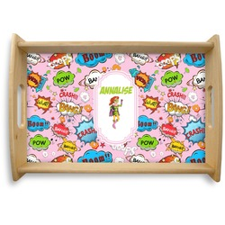 Woman Superhero Natural Wooden Tray (Personalized)