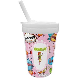 Woman Superhero Sippy Cup with Straw (Personalized)