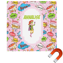 Woman Superhero Square Car Magnet (Personalized)
