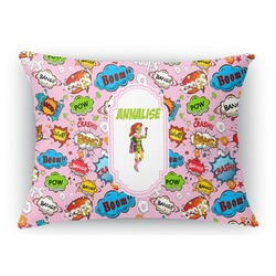 Woman Superhero Rectangular Throw Pillow (Personalized)