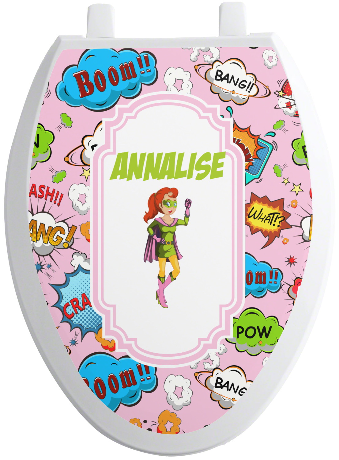 woman superhero toilet seat decal  personalized
