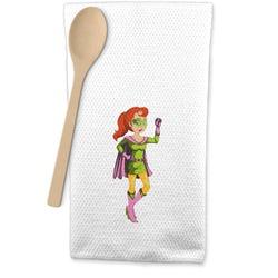 Woman Superhero Waffle Weave Kitchen Towel (Personalized)