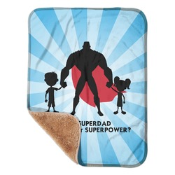 "Super Dad Sherpa Baby Blanket 30"" x 40"""