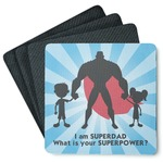 Super Dad 4 Square Coasters - Rubber Backed