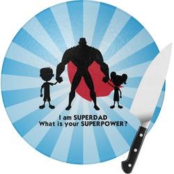Super Dad Round Glass Cutting Board
