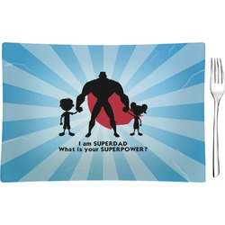 Super Dad Glass Rectangular Appetizer / Dessert Plate - Single or Set