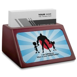 Super Dad Red Mahogany Business Card Holder