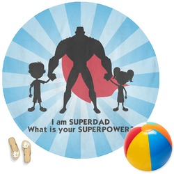 Super Dad Round Beach Towel