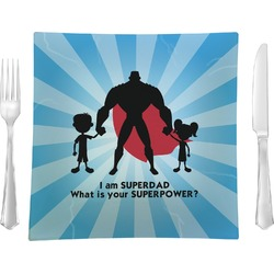 "Super Dad 9.5"" Glass Square Lunch / Dinner Plate- Single or Set of 4"
