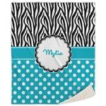 Dots & Zebra Sherpa Throw Blanket (Personalized)