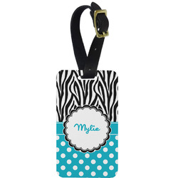 Dots & Zebra Metal Luggage Tag w/ Name or Text