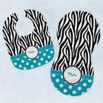 Dots & Zebra Baby Bib & Burp Set w/ Name or Text