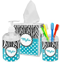 Dots & Zebra Bathroom Accessories Set (Personalized)