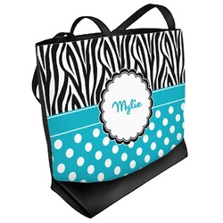 Dots & Zebra Beach Tote Bag (Personalized)