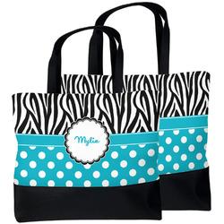 Dots & Zebra Beach Tote Bag (Personalized)