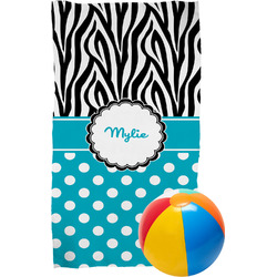 Dots & Zebra Beach Towel (Personalized)
