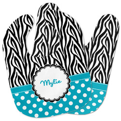 Dots & Zebra Baby Bib w/ Name or Text