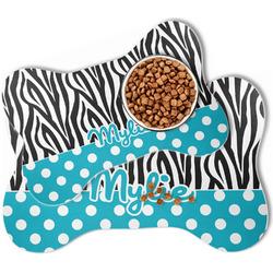 Dots & Zebra Bone Shaped Dog Food Mat (Personalized)