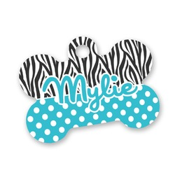 Dots & Zebra Bone Shaped Dog Tag (Personalized)