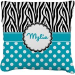 Dots & Zebra Faux-Linen Throw Pillow (Personalized)