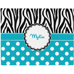 Dots & Zebra Woven Fabric Placemat - Twill w/ Name or Text