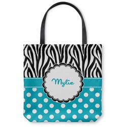 Dots & Zebra Canvas Tote Bag (Personalized)