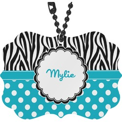 Dots & Zebra Rear View Mirror Charm (Personalized)